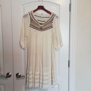 Free people cream dress with beading